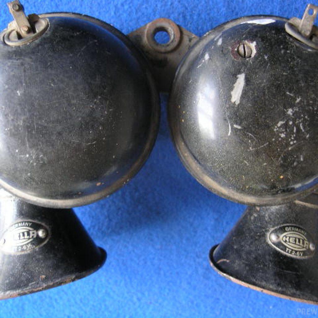 Paar Hella Typ TT 2 Hupen in 6 Volts