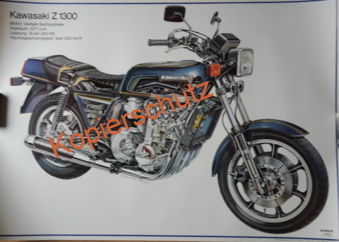 Original Technical Art  Plakat / Poster - Kawasaki Z 1300 ---70ziger Jahre BIG BIKE
