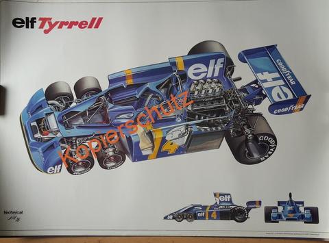 Original Technical Art  Plakat / Poster - 70ziger Jahre Tyrrell Sechsrad Formel 1