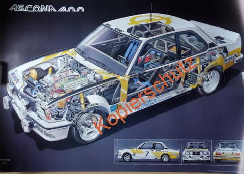 Original Technical Art  Plakat / Poster - 70ziger Jahre Opel Ascona 400