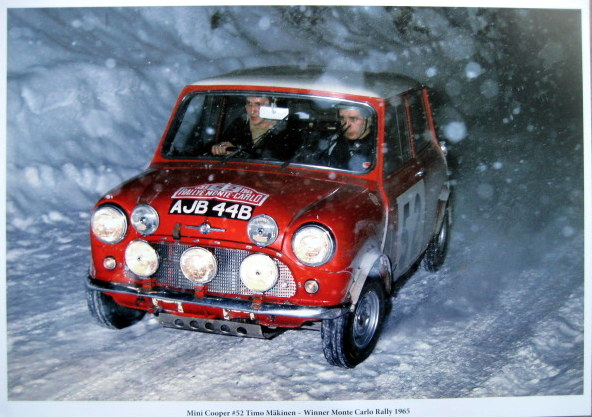 Rare Print - Mini Cooper S #52 Timo Mäkinen/Paul Easter - Winners Monte Carlo Rally 1967