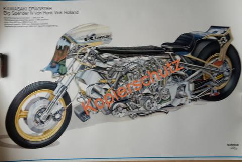 Original Technical Art  Plakat / Poster - Kawasaki -Dragster-70ziger Jahre