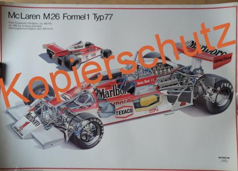 Original Technical Arts  Plakat / Poster - McLaren M26 --Typ 77- 70ziger Jahre  Schnitt Zeichnung