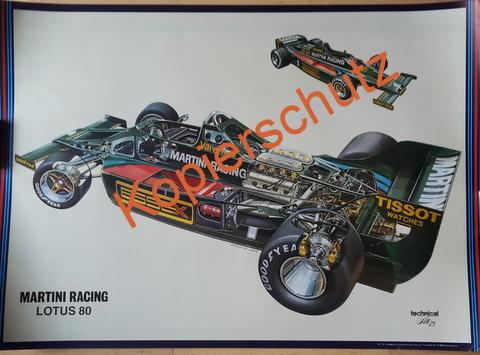 Original Technical Arts  Plakat / Poster - Martini Lotus --70ziger Jahre  Schnitt Zeichnung