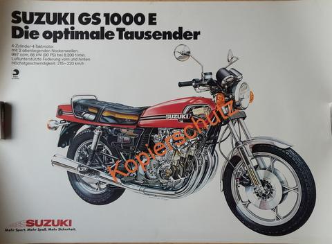 Original Technical Art  Plakat / Poster - Suzuki GS 1000 E ---70ziger Jahre BIG BIKE