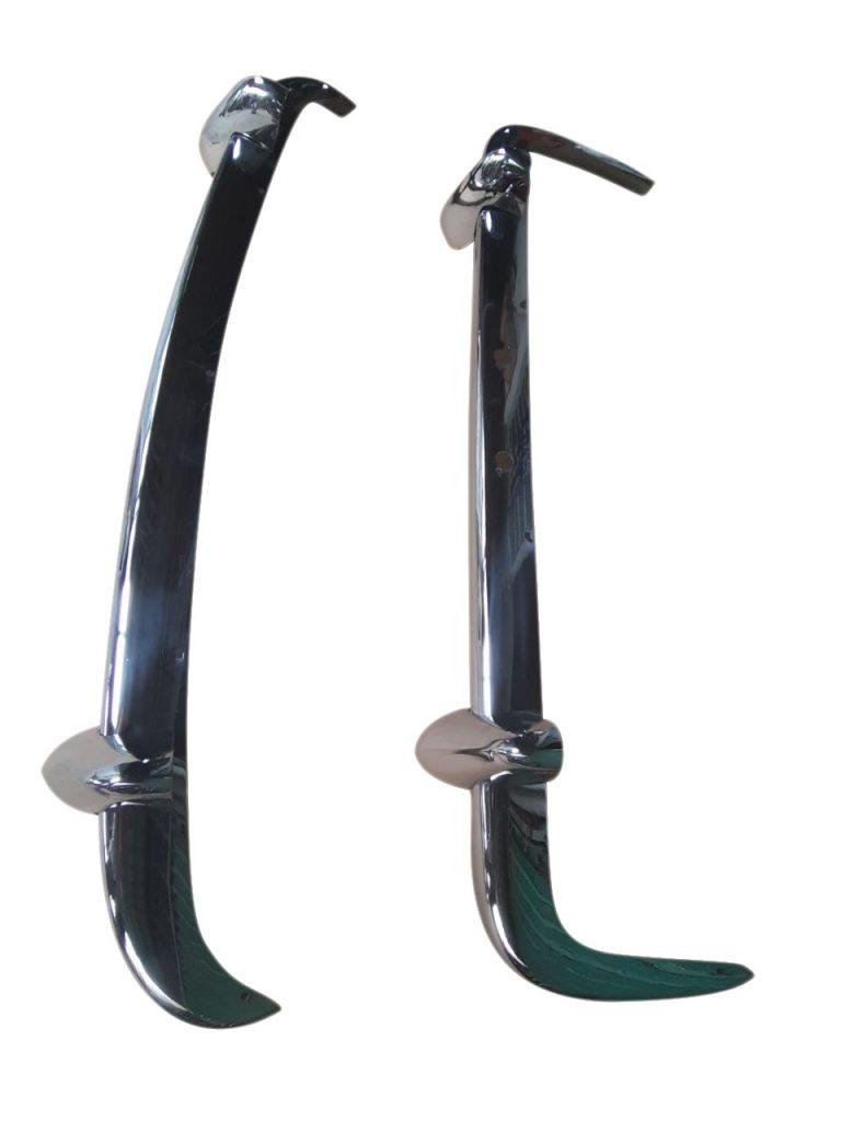 Riley Elf / Wolseley Hornet Stoßstangen aus Edelstahl  mit Hörnern - Hochglanz poliert