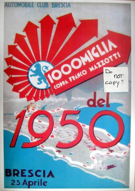 Rare Raceprint - 1000 Mille Miglia - Coppa Franco Mazotti - Brescia 1950