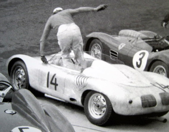 Rare Raceprint - Aston Martin #1/Ferrari #5/Porsche #14 - Start 1000 Km Nürburgring - 1959