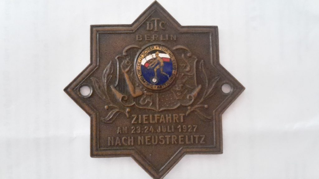 Plakette -Deutscher Touring Club --DTC--Zielfahrt nach Neustrelitz 23/24.7.1927