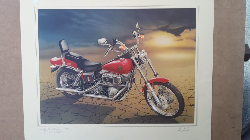 Technical Arts Büttenpapier Kunstdruck   -- Harley Davidson Wide Glide-   Schnittzeichnung