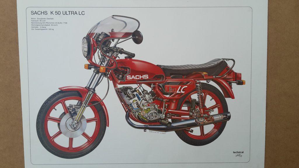 Original Technical Art  Plakat / Poster - Sachs LC Ultra ( Hercules )-  Kleinformat ca.50 x 35 cm