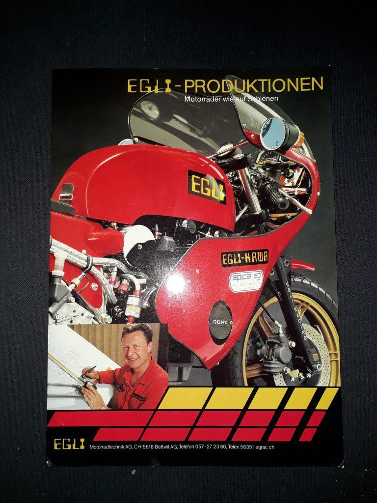 Motorrad Prospekt Verkaufsmappe von Egli mit sieben Einlege Blätter