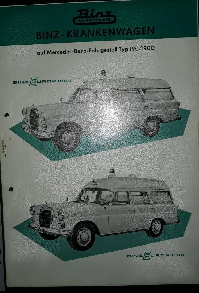 Original Verkaufsprospekt Mercedes Benz  Binz Krankenwagen