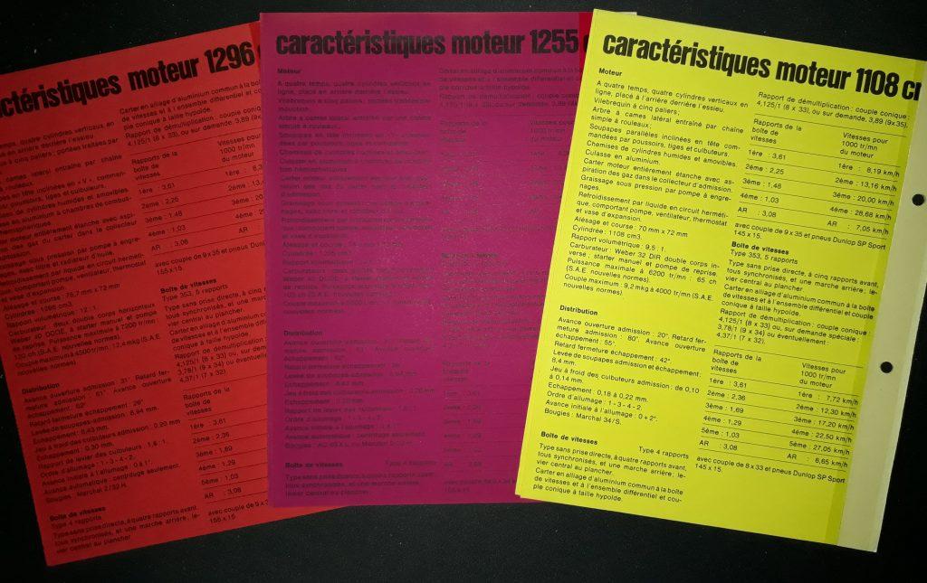 Original Verkaufsprospekt  Datenblätter Renault Alpine 110