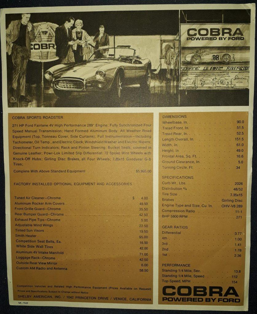 Original Verkaufsprospekt AC Cobra