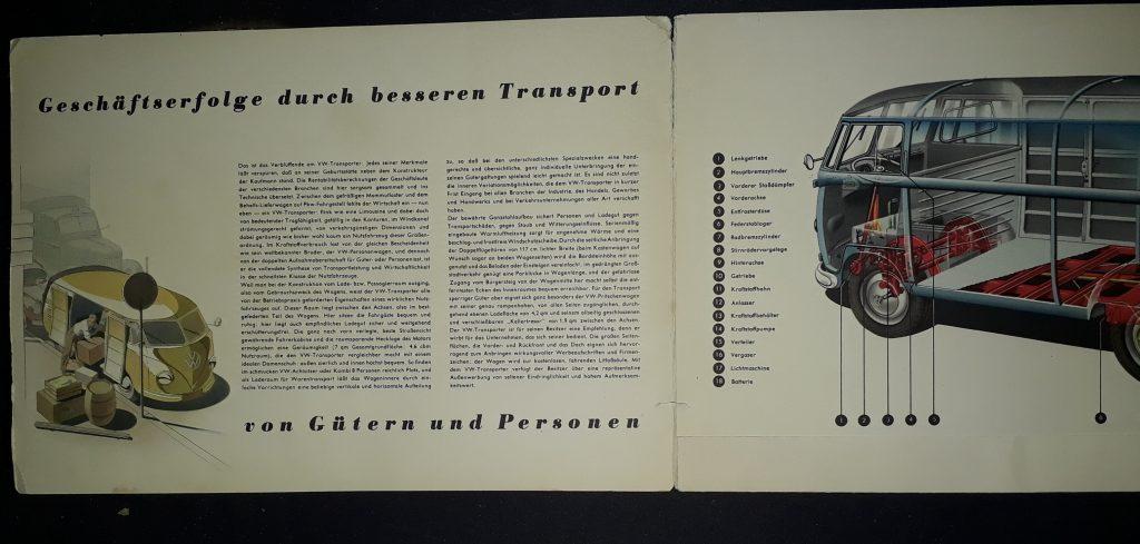 Original Verkaufsprospekt / Mappe mit Einleger VW  Bus /Transporter ca.1953