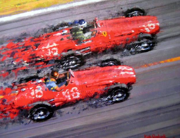 Picture/artwork - Ferrari #16/Mike Hawthorn (Winner) Maserari #18/J.M.Fangio - French Grand Prix, Reims 1953