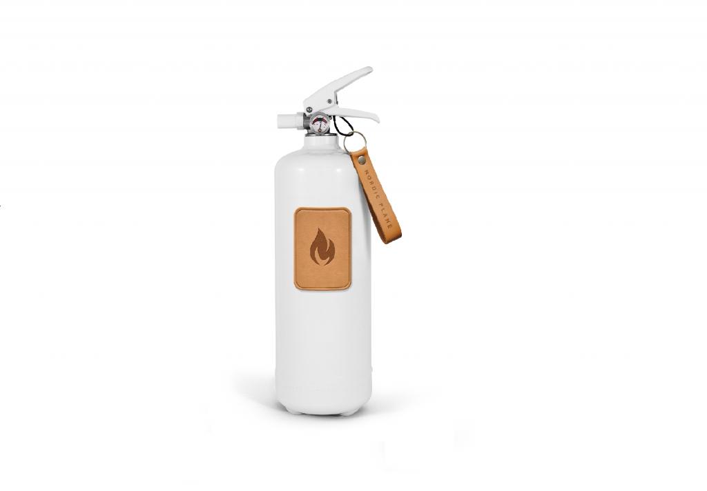 Feuerlöscher Design-Feuerlöscher weiß mit hellbraunem Leder2kg fire extinguisher