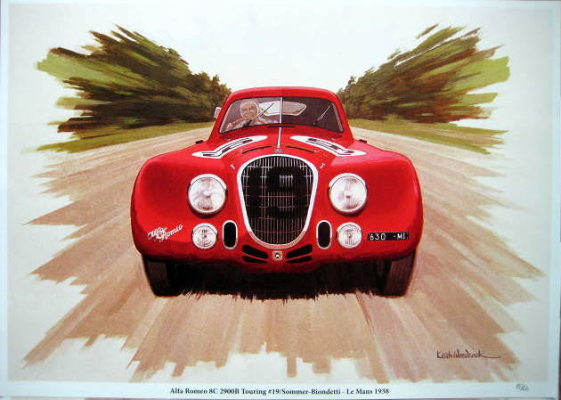 Alfa Romeo 8c 2900B Touring #19 Sommer/Biondetti - Le Mans 1938