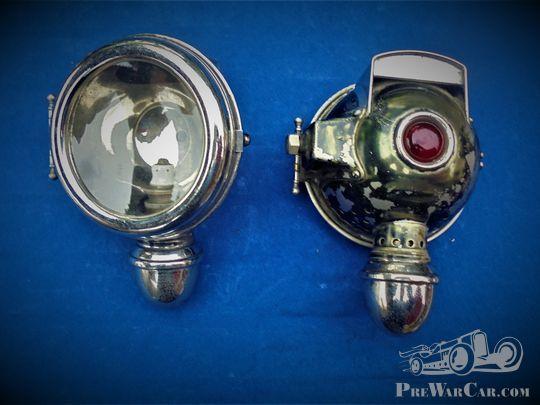 Auto-Öl-Scheinwerfer, pair of headlights brass pre-war