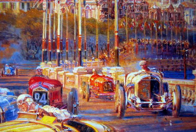Monaco Grand Prix 1929 - Artist : Alfredo De La Maria - Bugatti 35B/Grover-Bugatti 35C/Bouriano