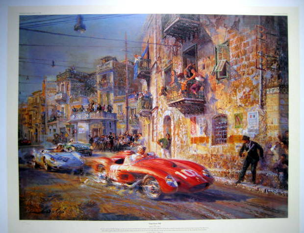 """Targa Florio 1958"" - Ferrari 250 TRS/Von Trips leads the Porsche 1500 RSK/J.Behra"