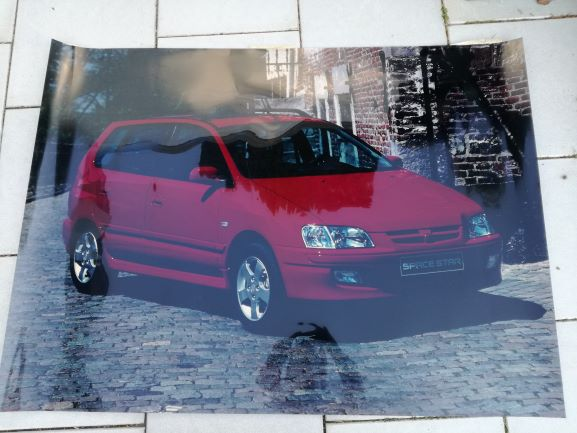 Mitsubishi Space Star backlight pictures from 2004 on plexiglas