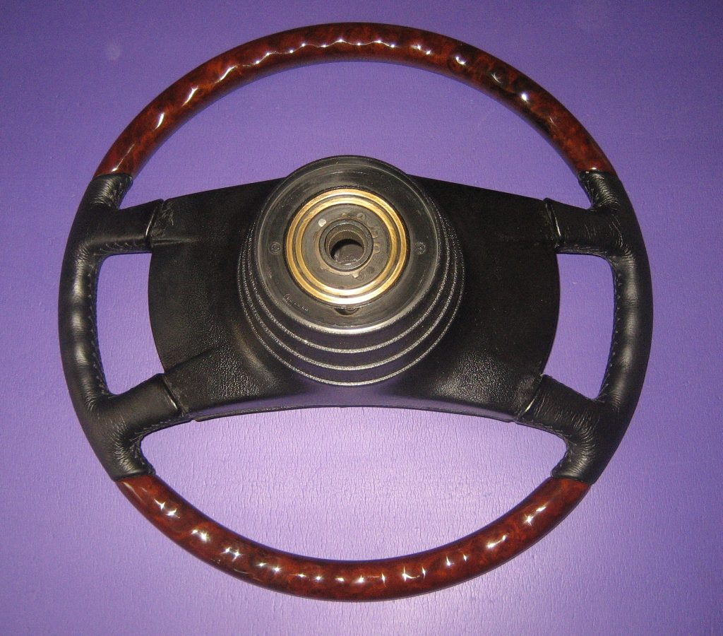 MERCEDES WURZELHOLZ - LEDER LENKRAD W107 W108 W115 W116 W123 NEU