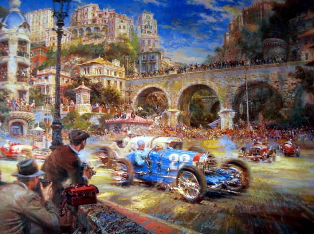 "Monaco Grand Prix 1930 - Artist : Alfredo De La Maria - ""Le pur sang des Automobiles"""