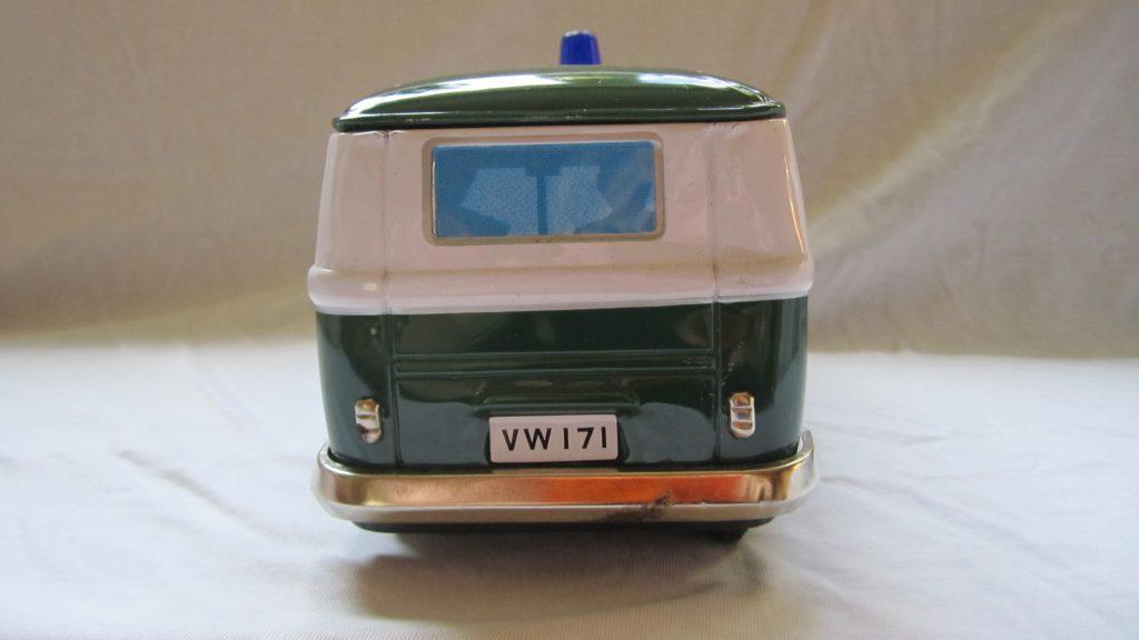 VW-Bus T1 Blechspielzeugauto Anfang der 60er made in Japan Friktionsvorderradantrieb Schallplatte für Polizeiruf