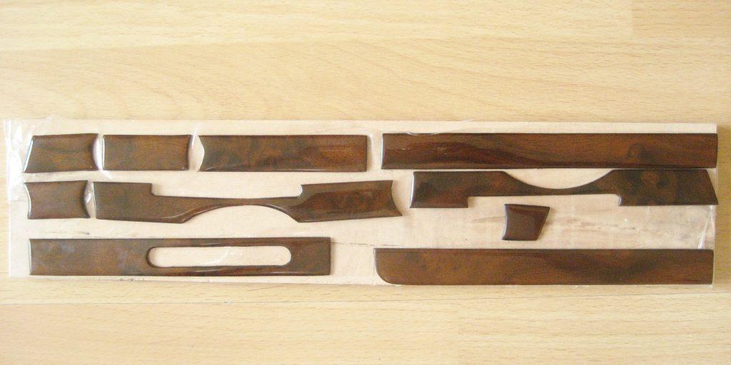 Mercedes W107 R107 Holzsatz für Armaturenbrett in Wurzelholz 10 Telig NEU