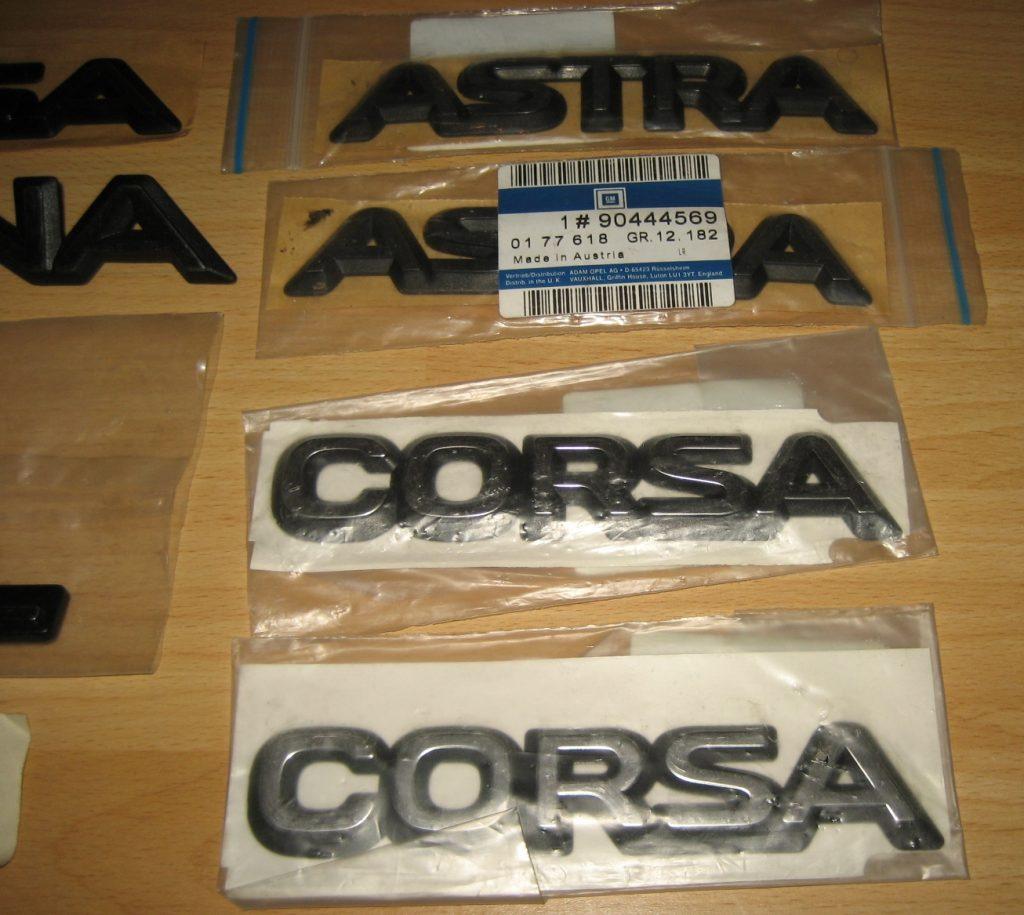Typenschilder 8 stk.für OPEL,Baureihe ASTRA-CORSA-ASCONA NEU
