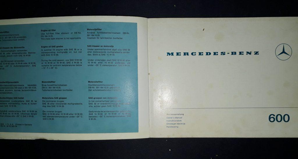 Betriebsanleitung  Original  Mercedes Benz 600 1- 1971