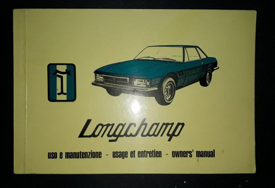 Betriebsanleitung  Original  DeTomaso Longchamp 2- 1979