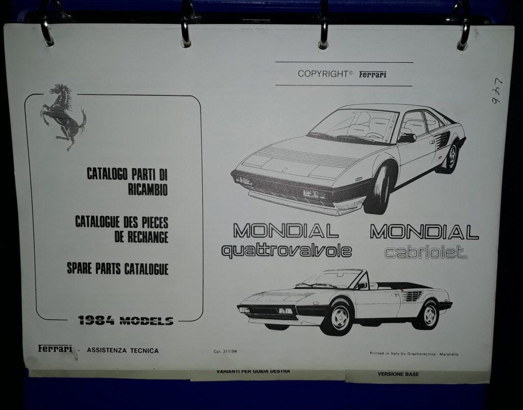 Ersatzteilkatalog Original  Ferrari  Mondial Quattrovalvole / Cabriolet  1984