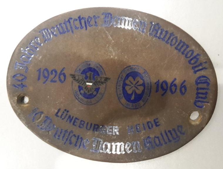 Plakette --40zig Jahre Deutscher Damen Automobil Club  1926-1966 Lüneburger Heide