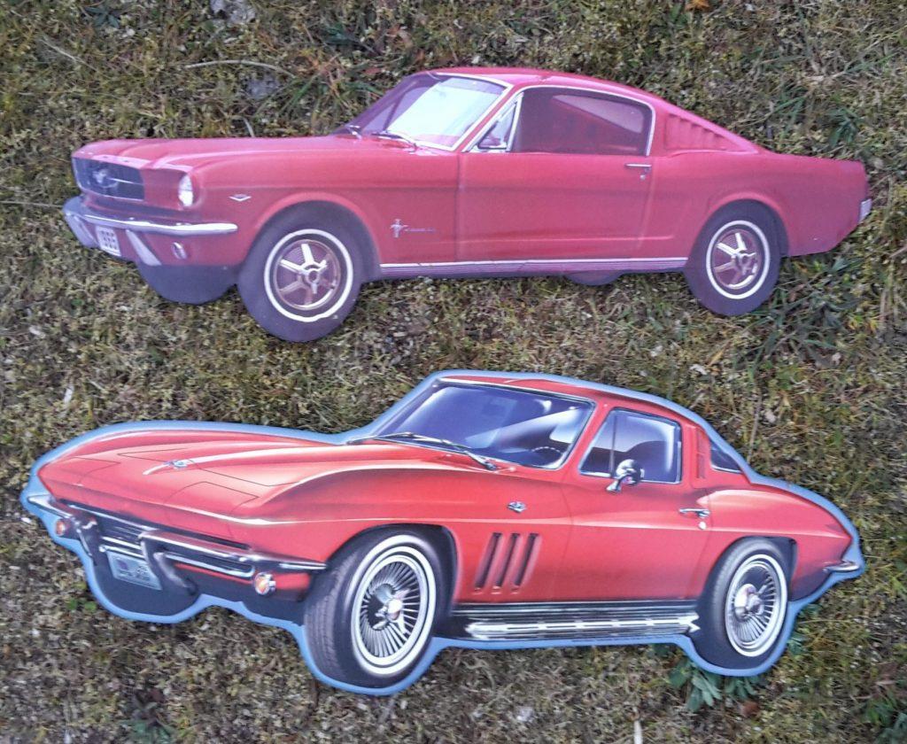 Blechschild Ford Mustang Fließheck Coupe  und Corvette C4 Stingray aus USA