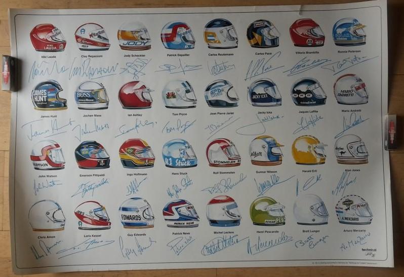 Original Technical Art  Plakat / Poster -  Die Helme der Formel 1 Fahrer und die Signets 70ziger