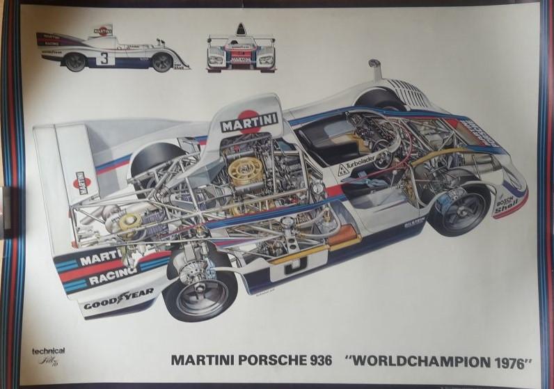 Original Technical Art  Plakat / Poster - 70ziger Jahre Porsche 936