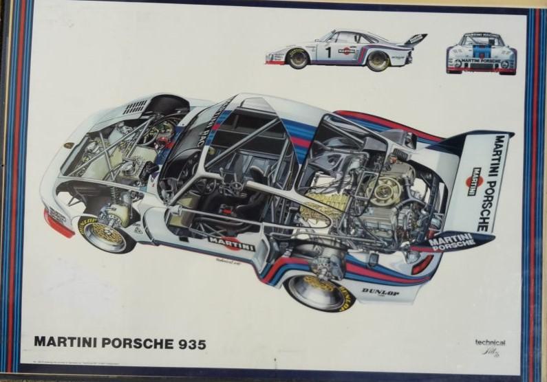 Original Technical Art  Plakat / Poster - 70ziger Jahre Porsche 935