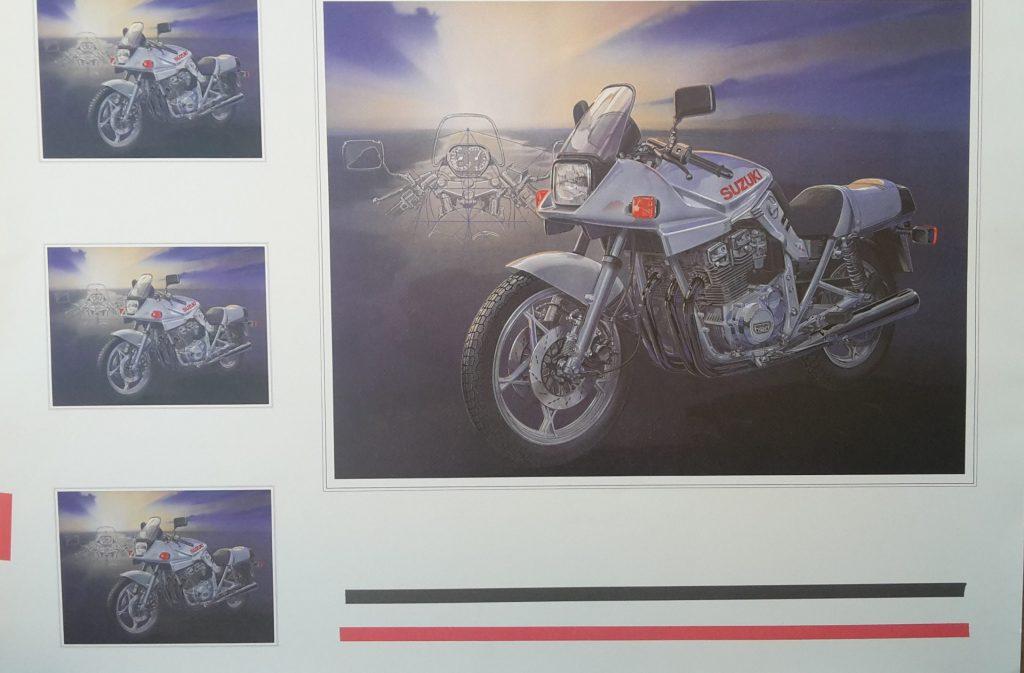Technical Arts Büttenpapier Kunstdruck   -- Suzuki 1100 Katana Version 1-   Schnittzeichnung