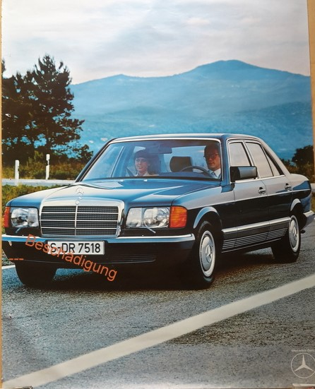 Original Mercedes-Benz S-Klasse Händler Plakat / Poster -  1978 -- 118x 85 cm