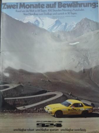 Original Porsche Händler Plakat des 924 In 28 Tagen um die Welt!!