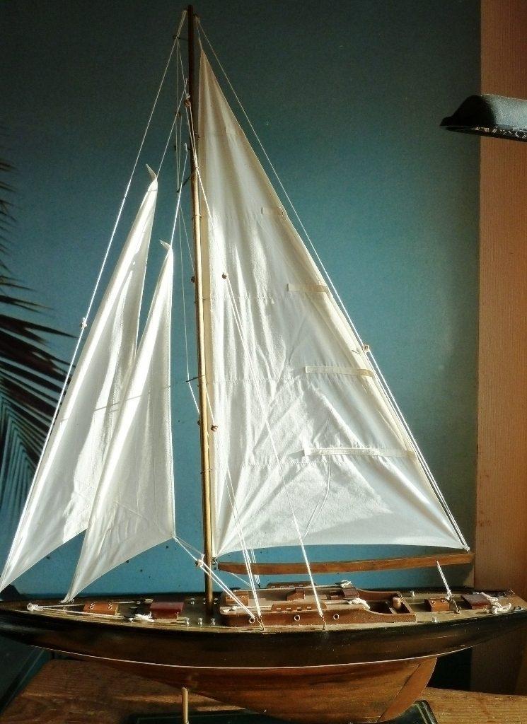 YACHT-MODELL-PONDYACHT-QUALITY-SAMMLERSTÜCK-SEGELYACHT-SHIP-SCHIFF-VINTAGE 1950-HANDBUILT-HANDARBEIT