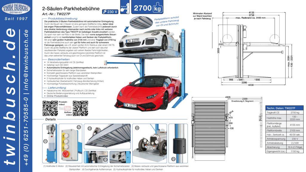 Twin Busch GmbH | 2-Säulen-Parkhebebühne TW227P