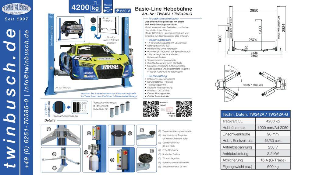 Twin Busch GmbH | 2-Säulen-Hebebühne 242 A