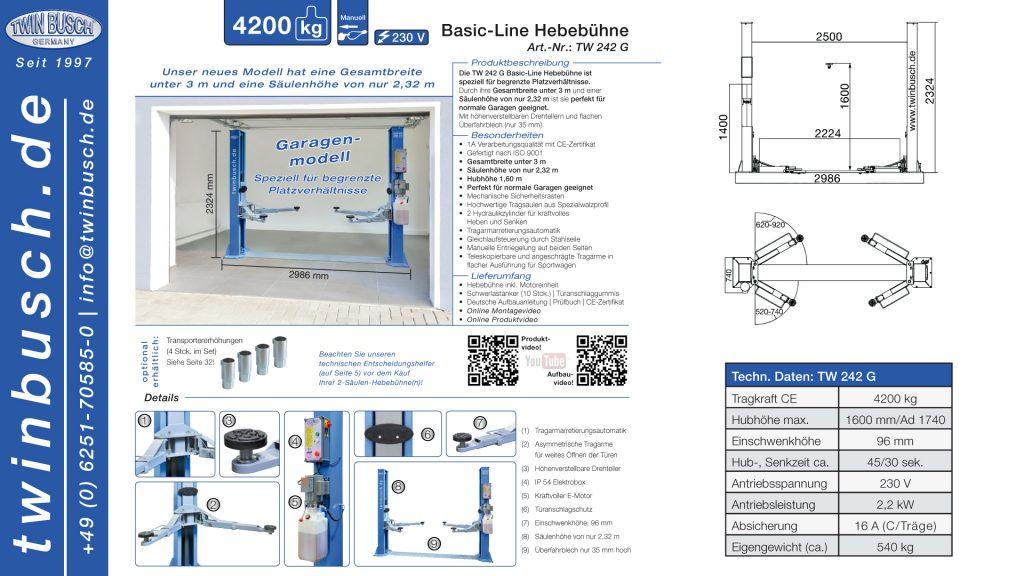 Twin Busch GmbH | 2-Säulen-Hebebühne Basic-Line TW 242 G (Garagenmodell)