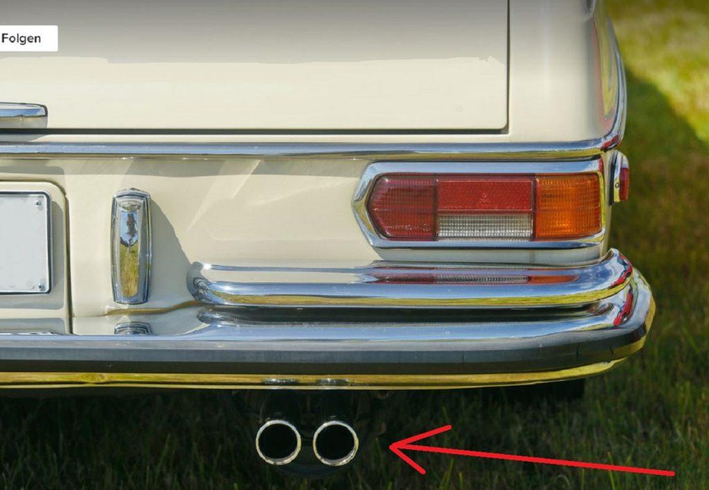Mercedes W108 W109 W111 W116 Auspuffblende Edelstahl 45mm 2 stk