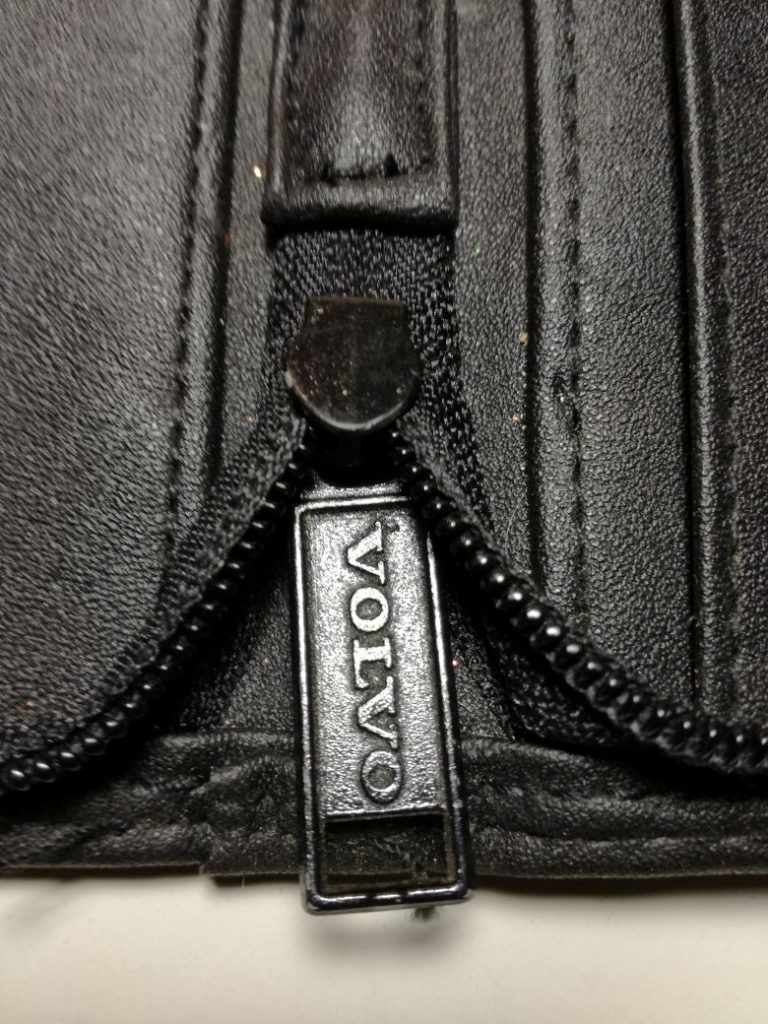 VOLVO writing case, original from 1980 in leather art black color with two pencils
