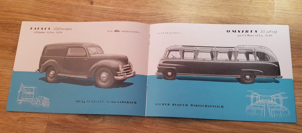 Ford Köln Prospekt Produktionsprogramm 1951 Taunus V8 LKW Omnibus Cabrio